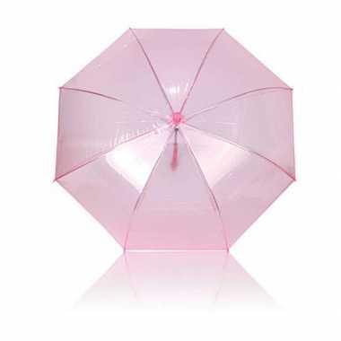 Doorzichtige 2x roze plastic paraplus 92 cm