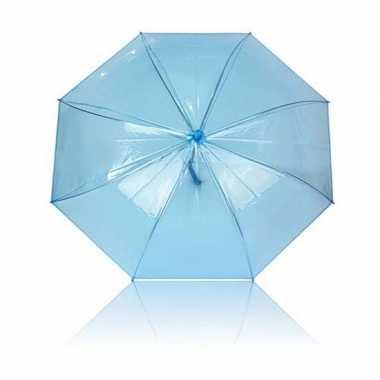 Doorzichtige paraplu blauw plastic