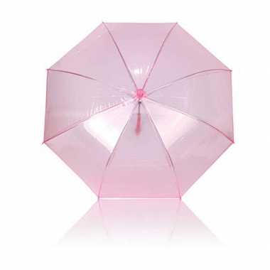 Doorzichtige roze plastic paraplu