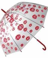 Doorzichtige liefdes paraplu met kusjes 85 cm